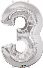 Number 3 Silver Super Shape Number Foil Balloon